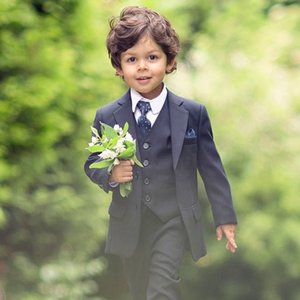 Azul-marinho escuro Bearer Suits Boys Wedding Suits 2020 Prom Sermits Kids Formal Wear TuxeDos 3 partes set (jaqueta + colete + calça)