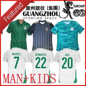 2020 2021 Argelia Mahrez Dos estrellas de distancia Jerseys de fútbol 20 21 Atal Kids Slimani Brahimi Home Bennacer Football Shirts Maillot de uniformes de pies