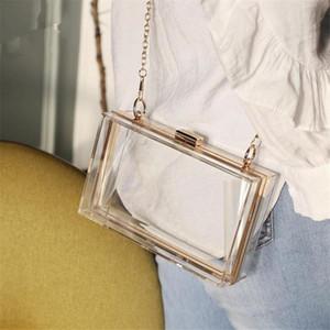 NOUVEAU Acrylique Transparent Femmes Sac d'embrayage Chaîne Femme Messenger Sac Soirée Sac à main Chaîne Épaule