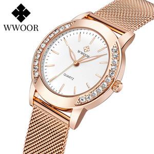 WWOOR Luxury Diamond Ladies Watches 2020 Top Brand Fashion Women Quartz Wrist Watch Rose Gold Mesh Band Bracelet Watch For Women Q1119