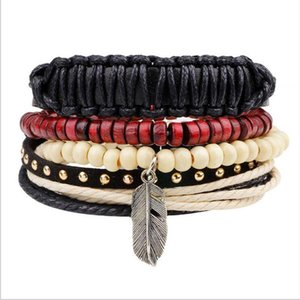 LIKA New Design Homemade Bracelet New Alloy Feather Bracelets for Men Beads Wrist Band Cuff Leather Bracelet Red Wooden Beads