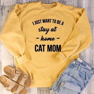 Komik Anne Günleri Kedi Lover Sevimli sloganı Saf Kazaklar Grunge I Just A Stay Home Kedi Anne Kazak Olmak İstiyor Tops