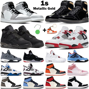 Basketball Shoes 1s high OG men women jumpman 1 mid Light Smoke Grey Black Metallic Gold Obsidian 4s Fire Red Cat mens sneakers