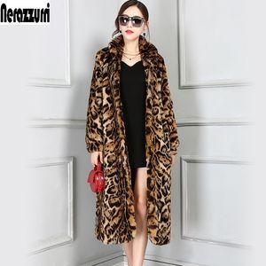 Nerazzurri Haute Quality Europe Fashion X-Long Fuex Fourrure Fourrure De Léopard Femmes Manches longues Femme Winne Overcoat Plus Taille 5XL 6XL 201110