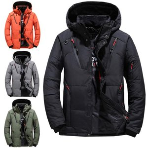 Mens winter jacket warm and thick fit short down jacket zipper Hooded Coat can be hand washed without wrinkles Down for men