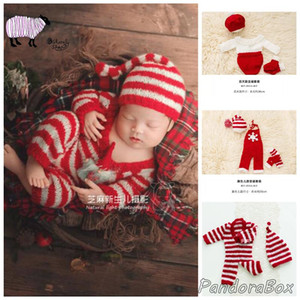 Newborn Photography Props Xmas Outfits Baby Boy Girl Photoshoot Christmas Striped Rompers Clothes Infant fotoshooting Costume