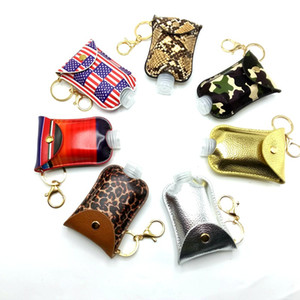 30ml Hand Sanitizer Keychain Holder Pu Leather Soap Bottle Cover Travel Portable Camouflage Keychain Keyring Case Party Favor Kimter-K12FA
