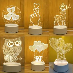 USB Power Night Light LED Deer 3D Eiffel Tower Acrylic Table Desk Bedroom Decor Gift Warm White Lamp Christmas Decorations