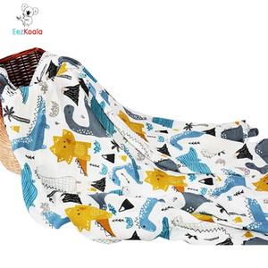 EEZKOALA 2LAYERS MUSLIN BABY Swaddl Decke Neugeborenen Wickel Hängematte Swaddling Polsterung Nubble Wraps Badetuch Y201009