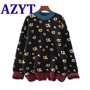 Azyt outono inverno o pescoço mulheres pulôveres sweater estilo vintage solto knitwear jumpers feminino chique imprimir malhas mulheres 2021 h1211