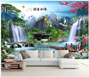 Custom Photo Wallpapers murals for walls 3d Idyllic forest waterfall landscape TV sofa background wall landscape decorative painting wall