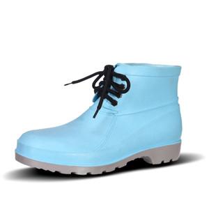 2021 Botas de lluvia sin marca Baja zapatos de seguridad laboral Baja de punta de acero Negro amarillo rosa rojo púrpura verde oscuro zapatos de zapatos # 42