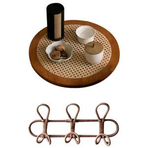 2 PCS 수제 등나무 걸이 벽 후크 3 후크 1 개 손으로 짠 등나무 장식 둥근 판 장식품 저장 용지
