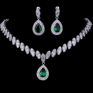 2021 Water drop Cubic Zirconia Wedding Party Jewelry Set Gold Color High Quality CZ Bridal Necklace Earring
