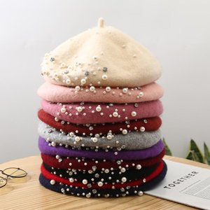 New popular Best seller Autumn and winter Rivets pearl water diamond wool woman knitting Beret tweed bud hat painter's hat