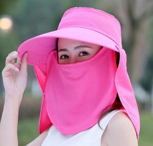 Women Mask Wide Brim Hat 5 Colors Full Mask Summer Uv Protection Face Neck Flap Cap Outdoor Solid Bucket Hat Ljjo7648 Erxpg