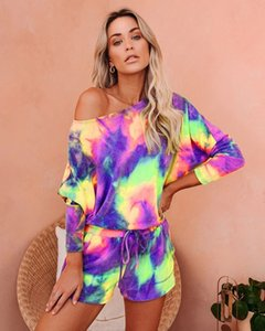 Summer Two-piece Printing Tie-dye Gradient Women's O-neck Short Sleeve T-shirt + Straight Shorts Pants Casual Sports Cotton Suit Y1123