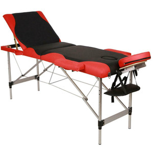 Portable Fold Massage Table Facial SPA Bed Tattoo w Free Carry Case Black & Red