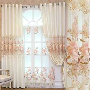 Curtain Fabric Factory Direct European Milk White Hollow High Precision Embroidered Curtains Living Room Bedroom Custom