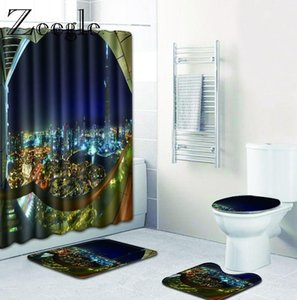 Zeegle Print Bath Mat Set with Curtain Lid Toilet Cover Mat Bath Pad Set Bathroom Curtain with 12 Hooks Bathroom Accessories