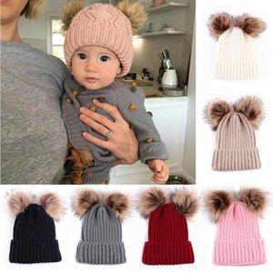 New Puseky Newborn Baby Cute Winter Warm Double Fur Balls Pompom Cap Knit Crochet Kid Child Hats Caps For Boys Girls Hat Beanies