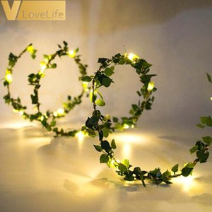 LED Lights Leaves Garland Fairy Light Led Copper Wire Battery String Lights For Wedding Forest St. Patricks Day Decoration