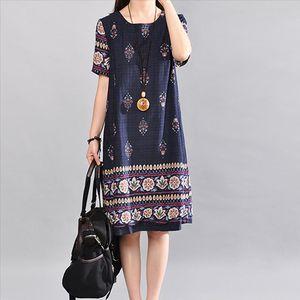 38 Womens Casual Simple Fashion Korean Dresswomen Large Size Print Cotton Linen Dress O neck Short Sleeve Loose Dress