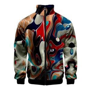 JAYCOSIN Men's Jacket Casual 3D Halloween Doodle Swirl Stand Collar Zipper Comfort Long Sleeve Jacket Sportswear 2020