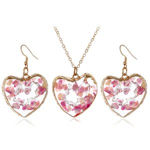 New Arrival Women Pink Mineral Heart Necklace Earring Set Gold Sweater Chain Transparent Pendant Necklaces Jewelry Valentines Birthday Gift