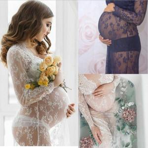 2021 Annelik Fotoğraf Prop Beyaz Siyah Dantel Annelik Fotoğraf M-4XL Annelik Elbise