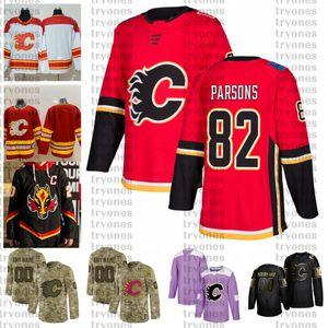 2021 Reverse Retro 사용자 정의 # 82 타일러 파슨스 캘거리 불꽃 유니폼 황금 에디션 카모 재향 군인의 날 싸움 Cancer Hockey Jersey