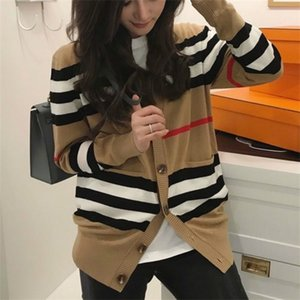 Autumn Women Cardigan Vintage Stylish Striped Knitted Sweater Fashion V-neck Long Sleeve English Style Casual Outerwear Chaqueta Z1123