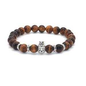 Natural Stone Silver Crown Lion Charm Women Bracelets Alloy Accessories Tiger Eye Picture Stone Labradorite Beads Men Bracelets