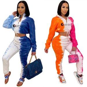 النساء رياضية الإيثيكا 2 قطعة مجموعة مصمم عارضة التعادل صبغ المطبوعة طويلة الأكمام سستة أعلى بنطلون ملابس السيدات أزياء الدعاوى الرياضية