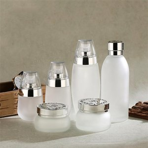 30ml 50ml 100ml Frosted Glass Bottle Refillable Cream Jars Empty Cosmetic Containers Portable Lotion Pump Bottles for Travel DHD1560