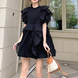 New 2020 Summer White Orange Black Prairie Chic Sweet Short Women Dress O Neck Butterfly Sleeve Loose Vintage Casual Vestidos