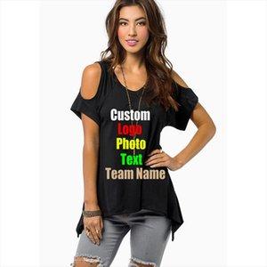 Oversized 4XL 5XL European Western Women T shirt Off Shoulder Irregular Female V Neck Tops Custom Logo Photo Text Printed Tshirt