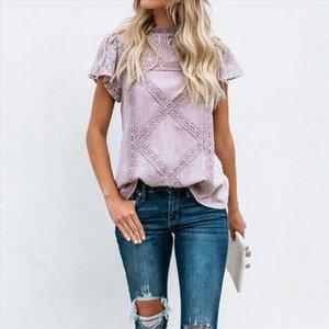 2020 Women Cotton Lace Patchwork Blouse Summer 2019 Short Sleeve Blusas Feminino O neck Shirt Causal Korea Style Ladies Camisas