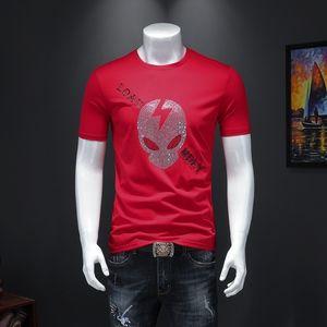 Summer 2020 high quality cotton hot diamond men's short-sleeved T-shirt Slim casual T-shirt BBQE XQDC