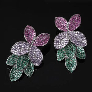 GODKI Celebrity Favorite Luxury Leaf Leaves Flower Collection Full Micro Cubic Zirconia Paved Wedding Bridal Earring For Women
