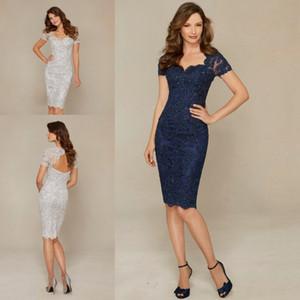 Navy Blue Silver Mother of the Bride Dresses Elegant Sheath Lace Knee Length Short Women Wear Evening Wedding Party Dress