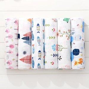 Baby Swaddle Bath Towels Muslin Newborn Blanket Wrap Cotton Bath Towels Air Condition Towel Cartoon Printed Swaddling Stroller DDB3343