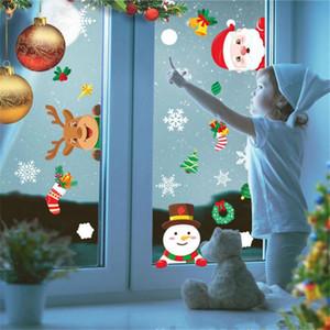 1pcs Merry Christmas Wall Stickers Kids Room Windows Santa Claus Elk Glass Wall Sticker Christmas Decoration for Home Navidad