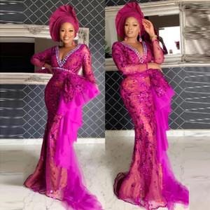 Aso Ebi Style Fuchsia Mermaid Evening Dresses V Neck Long Sleeve Illusion Lace Appliques Beaded Prom Dress Sequin Evening Gown