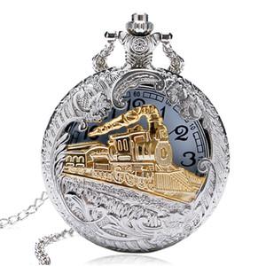 Steampunk Vintage Silver Gold Train Hollow Out Case Quartz Pocket Watch Men Women Pendant Chain Clock Gifts