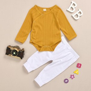New Arrival Toddler Baby Boy Girl 0-18M Cotton Long Sleeve Romper + White Pant 2pcs Clothes set Y1113