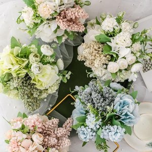 Bridal Bouquet Artificial Silk Rose Peony Flower Bride Supplies Hydrangea Pompom Pink Spike Vanilla Bouquet Bud Wedding P3M2