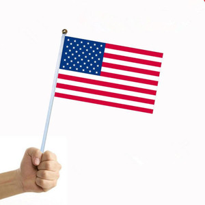 14 * 21 سنتيمتر موجة العلم الولايات المتحدة الأمريكية الأمريكية باليد العلم مصغرة صغيرة الولايات المتحدة الأمريكية مهرجان الإمدادات مهرجان الأمريكية العلم CCF490