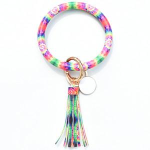 2020 pulseira de couro keychain pulseira pulseira Creative Round Round Ring Circle Circle Borla Chaveiro Chaveiro Pulseira Suporte para Mulheres Meninas Hha1398