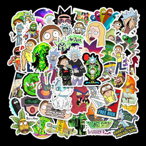 50 Non Repetitive Rick Morty Waterproof and Removable Cartoon Stickers UWIC